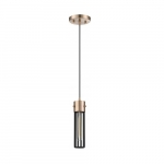 60W Eaves LED Pendant Fixture w/ Matte Black Cage, 1 Light, Copper Brushed Brass