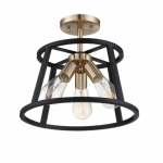 60W Chassis Series Semi Flush Mount Ceiling Light, Copper Brushed Brass & Matte Black