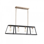 60W Chassis Series Island Pendant Light, 4 Lights, Copper Brushed Brass & Matte Black