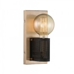 60W Passage LED Wall Sconce Copper Brass w/ Black Mesh, 1 Light