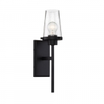 100W Rector Series Wall Sconce w/ Clear Seeded Glass, Aged Bronze