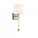 60W Tompson Series Wall Sconce w/ White Linen Shade, Burnished Brass