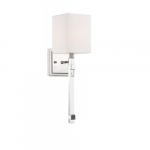 60W Tompson Series Wall Sconce w/ White Linen Shade, Polished Nickel