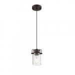 60W Antebellum LED Mini Pendant Fixture w/ Clear Glass, 1 Light, Mahogany Bronze