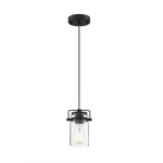 60W Antebellum LED Mini Pendant Fixture w/ Clear Glass, 1 Light, Matte Black