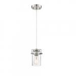 60W Antebellum LED Mini Pendant Fixture w/ Clear Glass, 1 Light, Polished Nickel