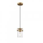 60W Antebellum LED Mini Pendant Fixture w/ Clear Glass, 1 Light, Vintage Brass