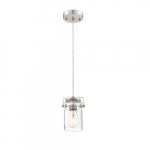60W Antebellum LED Mini Pendant Fixture w/ Clear Glass, 1 Light, Brushed Nickel