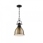 60W Watson Series Pendant Light, Matte Black & Burnished Brass