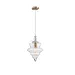 100W Ballarat Series Pendant Light w/ Clear Glass, Burnished Brass