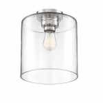 100W Chantecleer Series Semi Flush Ceiling Light w/ Clear Glass, Polished Nickel