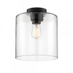 100W Chantecleer Series Semi Flush Ceiling Light w/ Clear Glass, Matte Black