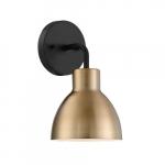 100W Sloan LED Vanity Fixture, 1 Light, Matte Black and Burnshed Brass Finish