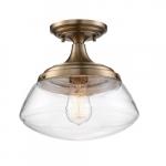 60W Kew Series Semi Flush Mount Ceiling Light w/ Clear Glass, Burnished Brass