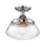 60W Kew Series Semi Flush Mount Ceiling Light w/ Clear Glass, Polished Nickel