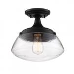 60W Kew Series Semi Flush Mount Ceiling Light w/ Clear Glass, Aged Bronze