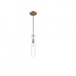 60W Spyglass Series Mini Pendant Light w/ Clear Glass, Vintage Brass