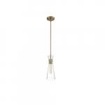 60W Bahari Series Mini Pendant Light w/ Clear Glass, Vintage Brass