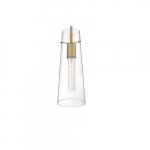 60W Alondra Series Mini Pendant Light w/ Clear Glass, Vintage Brass