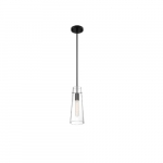 60W Alondra Series Mini Pendant Light w/ Clear Glass, Black