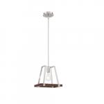 60W Outrigger Series Mini Pendant Light, Brushed Nickel & Nutmeg Wood