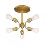 60W Faraday Series Semi Flush Ceiling Light, 6 Light, Brushed Brass