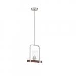 60W Arabel Series Mini Pendant Light w/ Clear Seeded Glass, Brushed Nickel & Wood