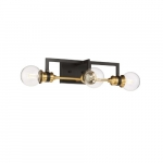60W Intention Series Vanity Light, 3 Lights, Warm Brass and Black