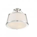60W Cutty Series Semi Flush Mount Light w/ White Fabric Shade, 3 Lights, Polished Nickel