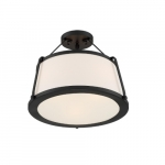 60W Cutty Series Semi Flush Mount Light w/ White Fabric Shade, 3 Lights, Matte Black
