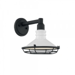60W Blue Harbor Series Wall Sconce, White & Black