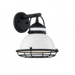 60W Upton Series Wall Sconce, Gloss White & Black