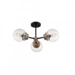 60W Axis Series Semi Flush Ceiling Light w/ Clear Glass, 3 Lights, Matte Black & Brass