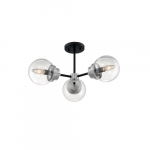 60W Axis Series Semi Flush Ceiling Light, 3 Lights, Matte Black & Brushed Nickel