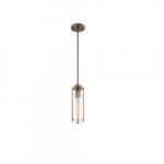 60W Marina Series Mini Pendant Light w/ Clear Glass, Burnished Brass