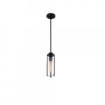 60W Marina Series Mini Pendant Light w/ Clear Glass, Matte Black