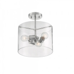 60W Sommerset Series Semi Flush Ceiling Light w/ Clear Glass, 3 Lights, Brushed Nickel