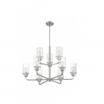 60W Sommerset Series Chandelier w/ Clear Glass, 9 Lights, Brushed Nickel