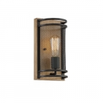 60W Atelier Series Wall Sconce, Black & Honey Wood