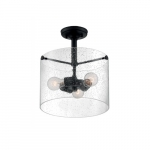 60W Bransel Series Semi Flush Mount Ceiling Light w/ Seeded Glass, 3 Lights, Matte Black