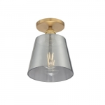 100W Motif Series Semi Flush Ceiling Light w/ Smoked Glass, Brushed Brass