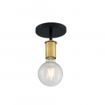 60W 1-Light Semi Flush Mount Fixture, Black & Brushed Brass