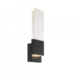 13W LED Ellusion Series Large Wall Sconce w/ Seeded Glass, Dim, 700 lm, 3000K, Black