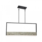39W LED Alta Series Island Pendant Light, Dim, 2360 lm, 3000K, Black & Gray Wood