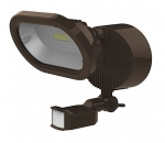 14W LED Security Flood Light w/ Motion Sensor, Bronze, 3000K