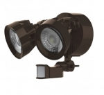 24W Dual Head LED Security Light w/Motion Sensor, Bronze, 3000K
