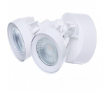 24W Dual Head LED Security Light w/Motion Sensor, White, 3000K