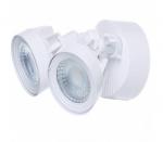 24W Dual Head LED Security Light w/Motion Sensor, White, 3000K