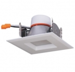 "9W 4"" LED Recessed Retrofit Downlight, Square Trim, Dimmable, 3000K"