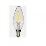 3.5W LED C11 Candelabra Filament Bulb, 2700K, Clear